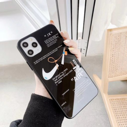 NIKE Style Glossy Silicone Shockproof Protective Designer iPhone Case For iPhone 12 SE 11 Pro Max X XS Max XR 7 8 Plus - Casememe