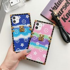Louis Vuitton Style Candy Trunk Leather Designer iPhone Case For All iPhone Models - Casememe