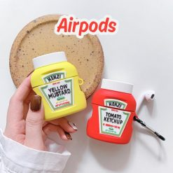 Heinz Ketchup Mustard Bottle Silicone Protective Case For Apple Airpods 1 & 2 - Casememe