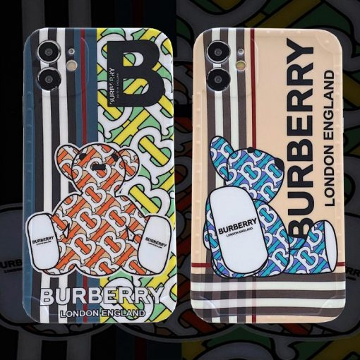 Burberry Style Bear Silicone Designer iPhone Case For All iPhone Models - Casememe