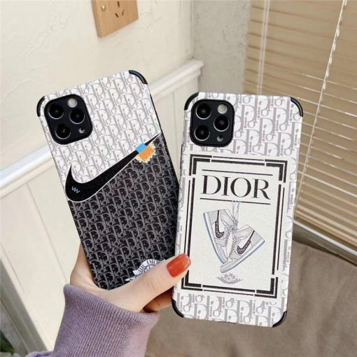 Dior x Nike Style Leather Designer iPhone Case For All iPhone Models - Casememe