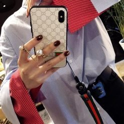 Gucci Style Classic Leather Protective Designer iPhone Case For iPhone SE 11 Pro Max X XS Max XR 7 8 Plus - Casememe