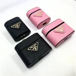 Prada Style Leather Protective Case For Apple Airpods 1 & 2 & Pro - Casememe