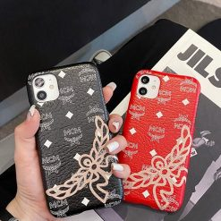 MCM Style Leather Shockproof Protective Designer iPhone Case For iPhone 12 SE 11 Pro Max X XS Max XR 7 8 Plus - Casememe