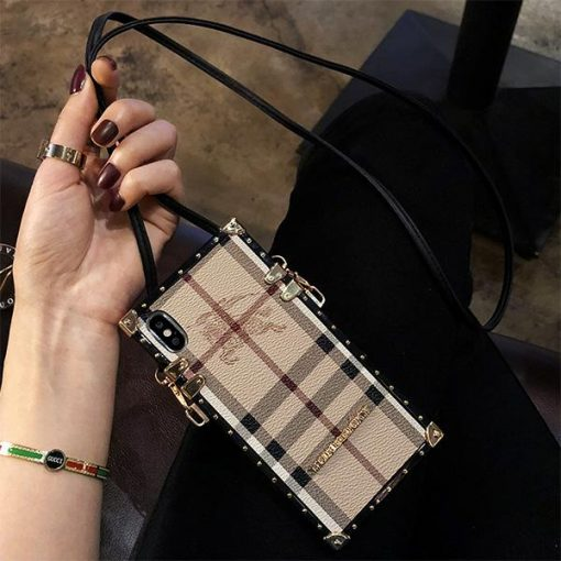 Burberry Style Lanyard Leather Designer iPhone Case For all iPhone models - Casememe