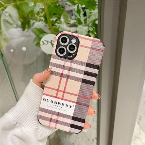 Burberry Style Leather Designer iPhone Case For all iPhone models - Casememe
