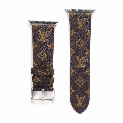 MORE COLORS Louis Vuitton Style Monogram Leather Compatible With Apple Watch 38mm 40mm 42mm 44mm Band Strap For iWatch Series 4/3/2/1 - Casememe