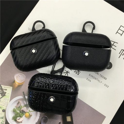 Mont Blanc Style Leather Protective Case For Apple Airpods 1 & 2 & Pro - Casememe