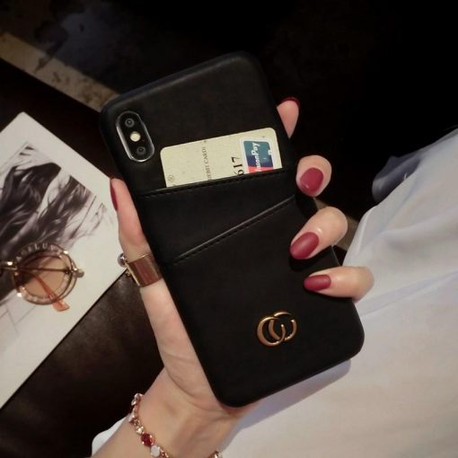 Gucci Style Leather Cardholder Wallet Designer iPhone Case For All iPhone Models - Casememe