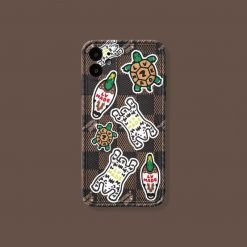 Louis Vuitton Style Luxury Leather Duck Protective Designer iPhone Case For All iPhone Models - Casememe