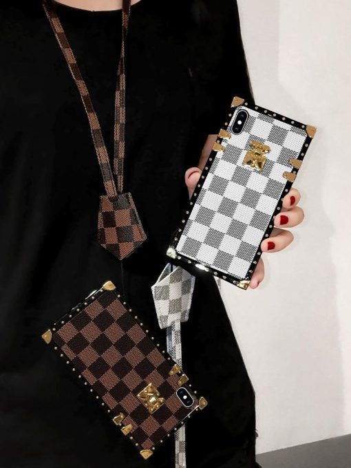 Louis Vuitton Style Trunk Leather Designer iPhone Case For All iPhone Models - Casememe