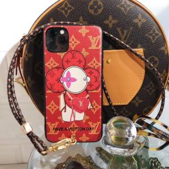 Louis Vuitton x Takashi Murakami Style Red Protective Designer iPhone Case For iPhone 12 SE 11 Pro Max X XS Max XR 7 8 Plus - Casememe