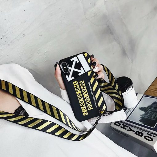 OFF WHITE OW Style Black Classic Designer iPhone Case For iPhone SE 11 PRO MAX X XS XS Max XR 7 8 Plus - Casememe