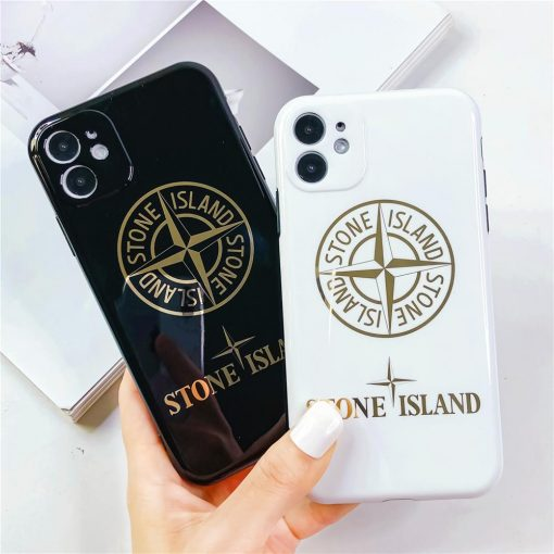 Stone Island Style Electroplating Glossy TPU Silicone Designer iPhone Case For iPhone 12 SE 11 Pro Max X XS XS Max XR 7 8 Plus - Casememe