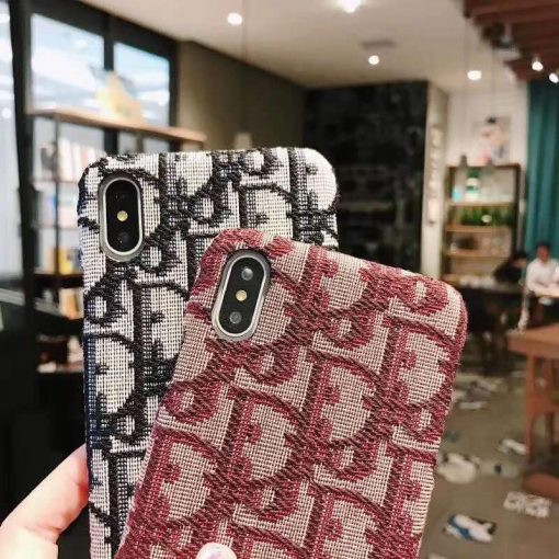 MORE COLORS Dior Style Classic Fabric Silicone Designer iPhone Case For iPhone SE 11 PRO MAX X XS XS Max XR 7 8 Plus - Casememe
