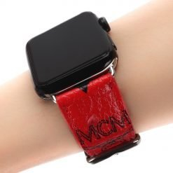 MORE COLORS MCM Style Leather Classic Compatible With Apple Watch 38mm 40mm 42mm 44mm Band Strap For iWatch Series 4/3/2/1 - Casememe