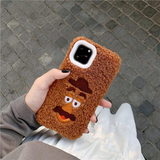 Winnie the Pooh Style Embroidery Furry Shockproof Protective Designer iPhone Case For iPhone 11 Pro Max X XS Max XR 7 8 Plus - Casememe