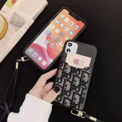 Dior Style Luxury Leather Cardholder Wallet Shockproof Protective Designer iPhone Case For iPhone 12 SE 11 Pro Max X XS Max XR 7 8 Plus - Casememe