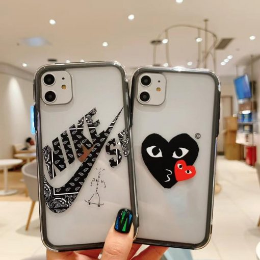 NIKE CDG Style Tempered Glass Shockproof Protective Designer iPhone Case For iPhone 12 SE 11 Pro Max X XS Max XR 7 8 Plus - Casememe