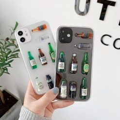 3D Korean Soju Bottle Silicone Shockproof Protective Designer iPhone Case For iPhone SE 11 Pro Max X XS Max XR 7 8 Plus - Casememe