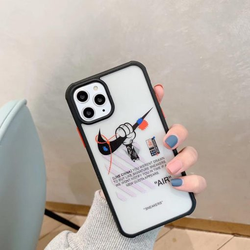 Nike x Mickey Mouse Style Tempered Glass Shockproof Protective Designer iPhone Case For iPhone 12 SE 11 Pro Max X XS Max XR 7 8 Plus - Casememe
