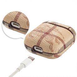Burberry Style AirPods Classic Leather Protective Shockproof Case For Apple Airpods 1 & 2 - Casememe
