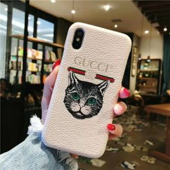 Gucci Style Leather Cat Kitty Designer iPhone Case For iPhone SE 11 Pro Max X XS Max XR 7 8 Plus - Casememe