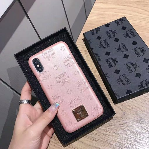 MCM Style Shimmer Leather Shockproof Protective Designer iPhone Case For iPhone 12 SE 11 Pro Max X XS Max XR 7 8 Plus - Casememe