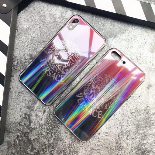 Versace Style Laser Blue Light Tempered Glass Designer iPhone Case For iPhone X XS XS Max XR 7 8 Plus - Casememe