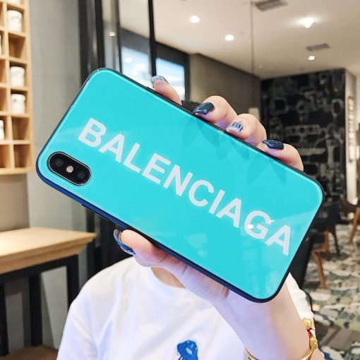 Balenciaga Style Tempered Glass Shockproof Protective Designer iPhone Case For iPhone 12 SE 11 Pro Max X XS Max XR 7 8 Plus - Casememe