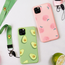 Cute Summer Fruit Silicone Lanyard Designer iPhone Case For iPhone SE 11 Pro Max X XS XS Max XR 7 8 Plus - Casememe