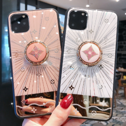 Luxury Monogram Glossy Ring Holder Designer iPhone Case For iPhone 12 SE 11 Pro Max X XS XS Max XR 7 8 Plus - Casememe