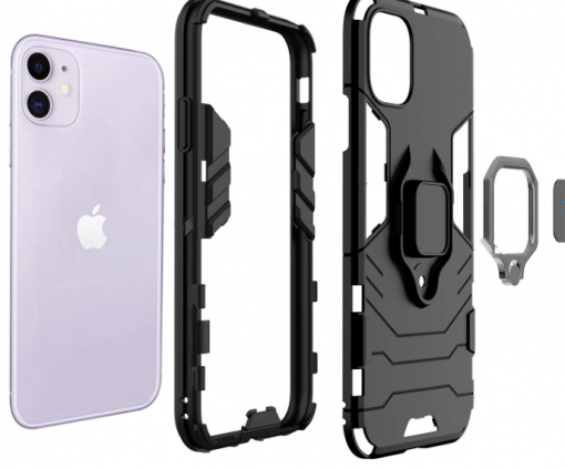 Black Ring Holder Shockproof Designer iPhone Case For iPhone SE 11 Pro Max X XS XS Max XR 7 8 Plus - Casememe