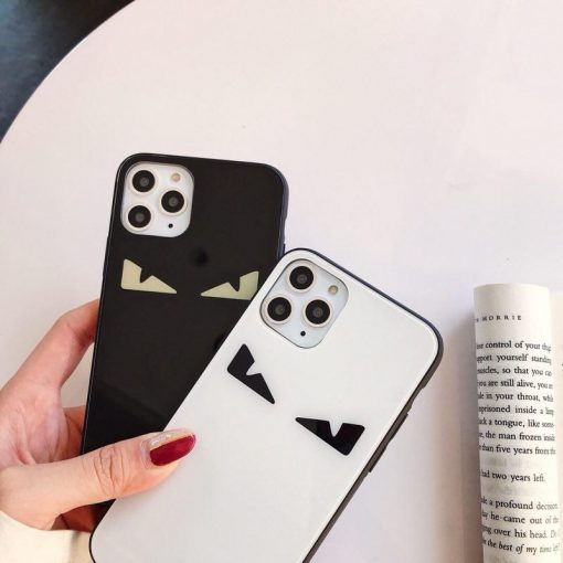 Fendi Style Monster Tempered Glass Shockproof Protective Designer iPhone Case For iPhone 12 SE 11 Pro Max X XS Max XR 7 8 Plus - Casememe