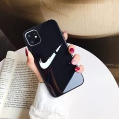 NIKE Style Swoosh Tempered Glass Shockproof Protective Designer iPhone Case For iPhone 12 SE 11 Pro Max X XS Max XR 7 8 Plus - Casememe