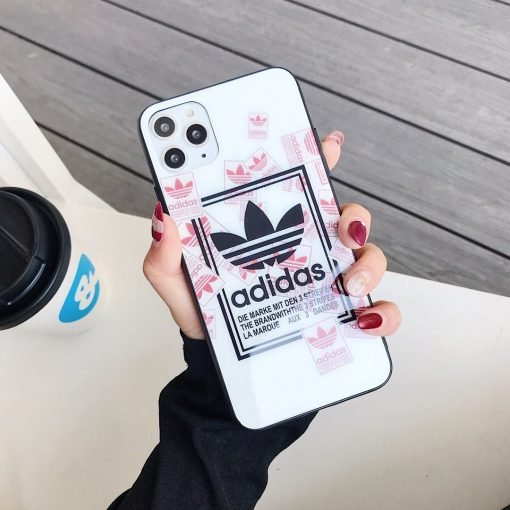 Adidas Style Tempered Glass Shockproof Protective Designer iPhone Case For iPhone 12 SE 11 Pro Max X XS Max XR 7 8 Plus - Casememe