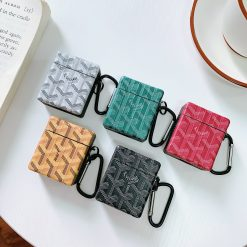Goyard Style Luxury Leather Box Protective Case For Apple Airpods 1 & 2 - Casememe
