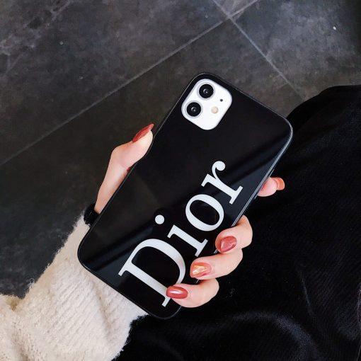 Dior Style Tempered Glass Shockproof Protective Designer iPhone Case For iPhone 12 SE 11 Pro Max X XS Max XR 7 8 Plus - Casememe