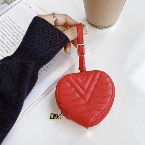 Louis Vuitton Style Luxury Leather Heart Protective Case For Apple Airpods 1 & 2 & Pro - Casememe