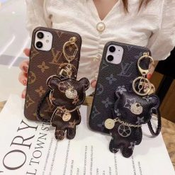 Louis Vuitton Style Monogram Bear Keychain Protective Designer iPhone Case For All iPhone Models - Casememe