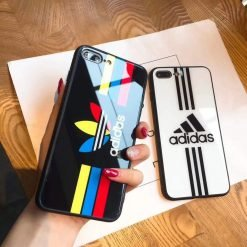 Adidas Logo Originals Tempered Glass Glossy Stripe Designer iPhone Case For iPhone SE 11 Pro Max X XS Max XR 7 8 Plus - Casememe