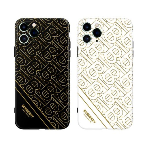 Burberry Style Electroplating Glossy TPU Silicone Designer iPhone Case For iPhone 12 SE 11 Pro Max X XS XS Max XR 7 8 Plus - Casememe