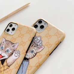 Gucci Style Cat Luxury Leather Protective Designer iPhone Case For iPhone SE 11 Pro Max X XS Max XR 7 8 Plus - Casememe