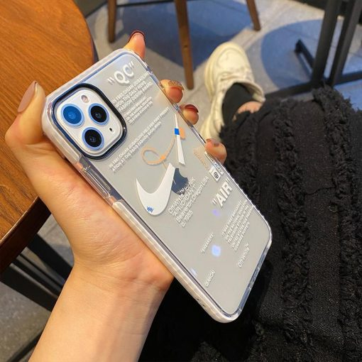 Nike x Off white Style Clear Silicone Bumper  Shockproof Protective Designer iPhone Case For iPhone 12 SE 11 Pro Max X XS Max XR 7 8 Plus - Casememe