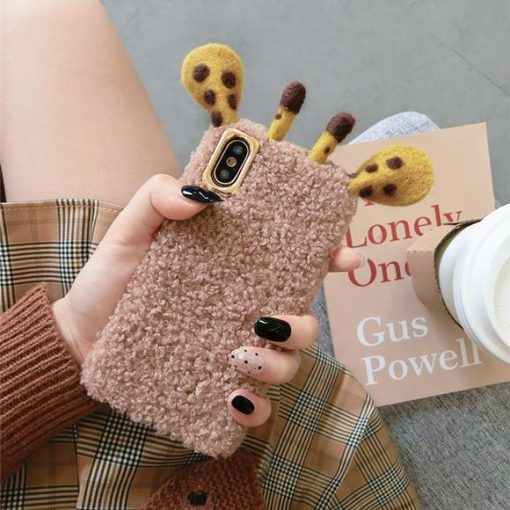 Giraffe Ears Furry Shockproof Protective Designer iPhone Case For iPhone SE 11 Pro Max X XS Max XR 7 8 Plus - Casememe