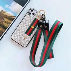 GUCCI Style Luxury Hand Strap Lanyard Shockproof Protective Designer iPhone Case For iPhone 11 Pro Max X XS Max XR 7 8 Plus - Casememe