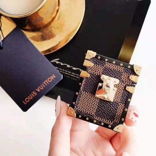 Louis Vuitton Style Leather Box Trunk Monogram Damier Protective Shockproof Case For Apple Airpods 1 & 2 - Casememe