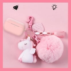 Unicorn Furry Ball Keychain Silicone Protective Case For Apple Airpods Pro - Casememe