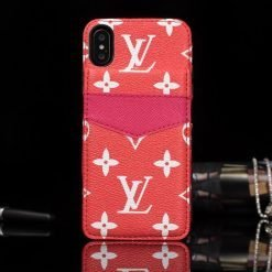 MORE COLORS Louis Vuitton Style Monogram Leather Flap Cardholder Designer iPhone Case For iPhone X XS XS Max XR 7 8 Plus - Casememe