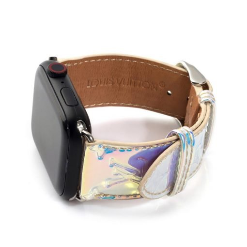 MORE COLORS Louis Vuitton Style Unicorn Laser Rainbow Leather Compatible With Apple Watch 38mm 40mm 42mm 44mm Band Strap For iWatch Series 4/3/2/1 - Casememe